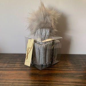 Women's Gray Pom Pom Winter Hat. Boxed. NWT
